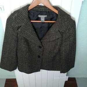 Ann Taylor navy blue/brown tweed blazer.